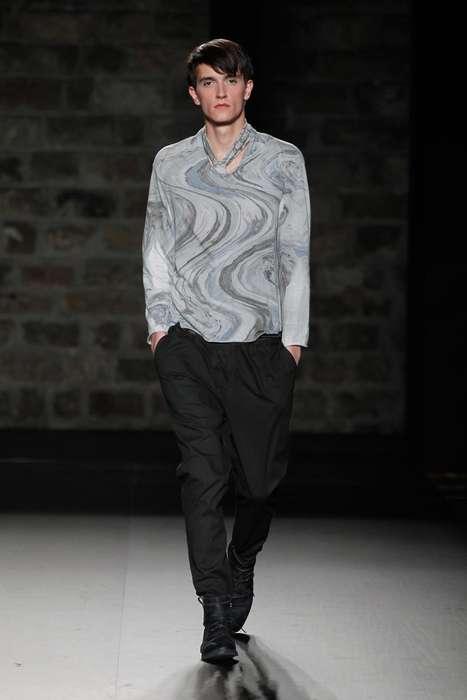 Sophisticated Swirl-Dyed Menswear