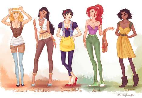 Hipster Princess Depictions - The DeviantART User Viria13 'Fashion Princesses' are Rad Recreations