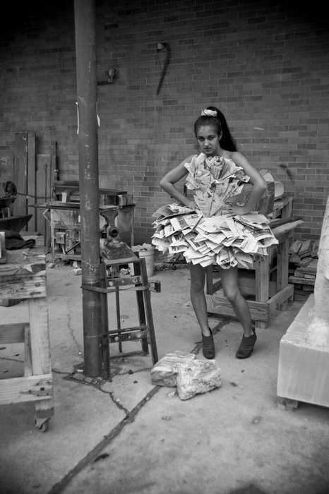 Sculptural Newspaper Dresses