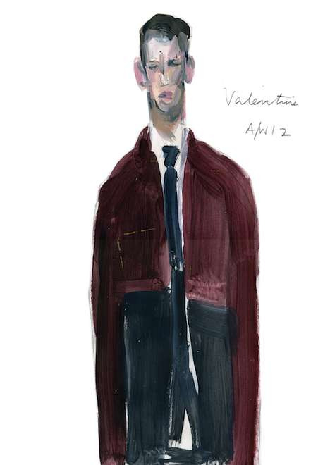Elongated Fashion Renderings - The Anne-Marie Jones Illustrations are Stylishly Manly