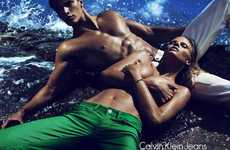 Shore-Lounging Campaigns - The Calvin Klein Jeans Spring/Summer Line Gets Wet and Wild