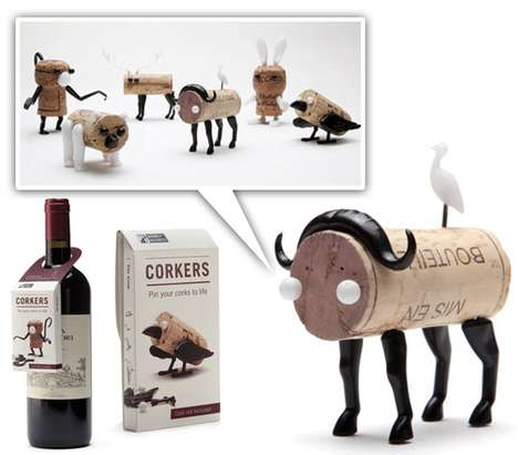 Corked Push-Pin Creatures - Corkers Encourages Drinkers to Keep the Cork for Artistic Purposes