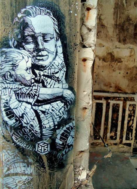 Apocalyptic Maternal Art - 'Peace' by C215 Sends Out a Positive Global Message