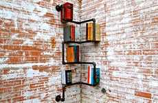 Piped Paperback Storage - Industrial Bookshelves Bind Your Library into the Structure of Your Home