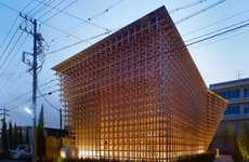 Japanese Toy-Inspired Infrastructure - Prostho Museum Research Center is Made of Wooden Sticks