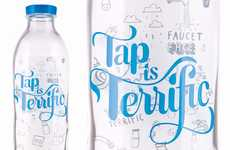 Glass H2O Containers - These Facet Face Water Bottles Urge People to Return to the Tap