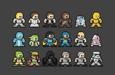 8-Bit Movie Cast Caricatures - Ty Lettau Renders Star Wars Characters in Mega Man-Like Style