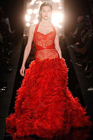 Fiery Vixen-Inspired Fashion - The Monique Lhuillier Fall Collection is Sultry and Stunning