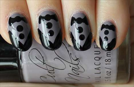 Mini Formal Wear Manicures - These Tuxedo Nails are Snazzy and Sassy