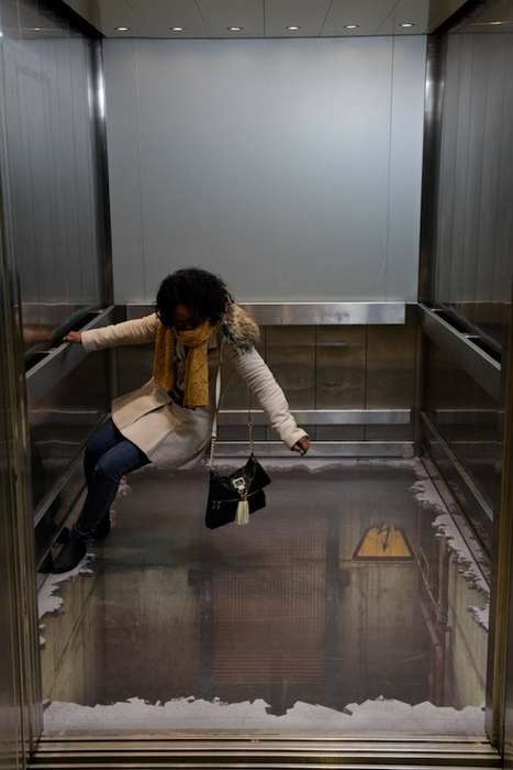 3D Elevator Illusions - London Shoppers Hold on to Dear Life at the Southside Shopping Centre