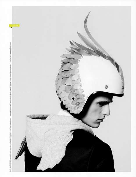 Couture Helmet Headgear - The Alex Dunstan NEO2 Editorial Features Biker-Inspired Accessories