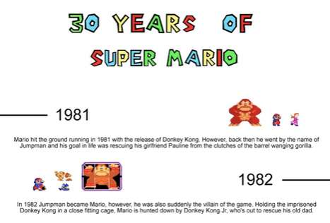 Historical Game Hero Infographics - '30 Years of Super Mario' Follows the Journey from 8-Bit to 3D