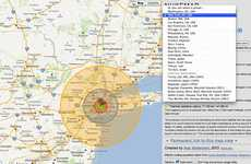 Atomic Bomb Mapping Apps - Nukemap Displays the Potential Damage of Nuclear Weapons on Major Cities