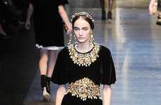 Regal Gold-Toned Collections - The Pieces from the Dolce & Gabbana Fall Line are Princess-Like
