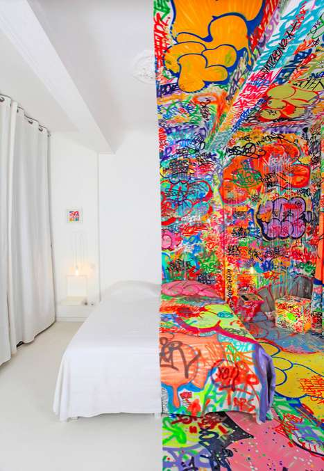 Half-Graffitied Hotel Suites - Panic Room by Tilt is Split Right Down the Middle