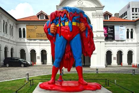 Melting Superhero Sculptures