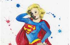 Splattered Superheroine Pin-Ups