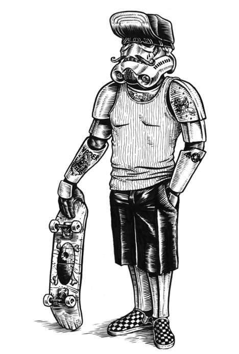 Sci-Fi Skater Illustrations