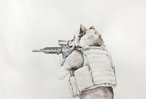 Amy Ross Illustrates Humanoid Canines Brandishing Assault Rifles