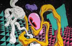 Psychedelic Dimension Paintings - Jared Tharp Renders Trippy Images in Bizarre Worlds