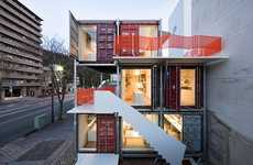 Shipping Container Workspaces - The Sugoroku Office by Daiken-Met Architects is Stacked Cargo Boxes