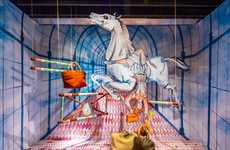Surreal Circus Scenes - The Kiki Van Eijk's Windows Installation is Whimsical