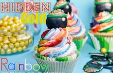 Concealed Currency Cakes - These Hidden Gold Rainbow Cupcakes are a Sweet and Surprising Treat