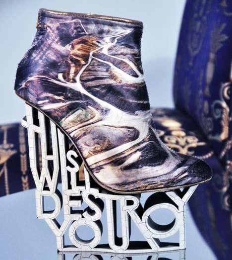 Intimidating Typographic Heels - The 'This Will Destroy You' Heels by Anastasia Radevich are Amazing