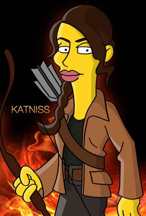 Dystopia Cartoon Mashups  - The Hunger Games Characters as Simpsons Stars are Hilarious