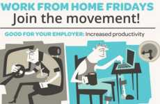 Anti-Office Infographics - The 'Work From Home Fridays' Infographic Discusses Productivity