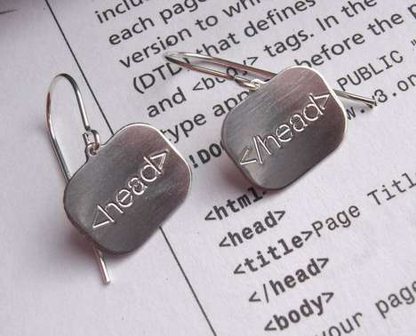 Crafty Code Jewelry - These HTML Earrings from Etsy User 'Nicholasandfelice' are Fun