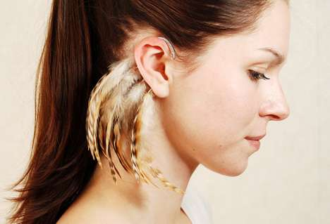 Feral Ear Ornaments - The Njuu Feather Ear Cuffs Will Add a New Allure to Your Look