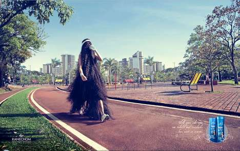 Horrible Hair Solution Ads - The Kanechom 'Jogging' Print Intelligently Proposes Its Products