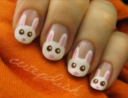 This Easter Bunny Manicure by Cutepolish is Easy and Adorable