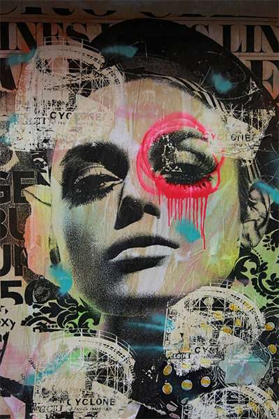 Paint-Bleeding Portraits - Street Artist Dain Fuses Mixed Media, Wheatpasting and Collage