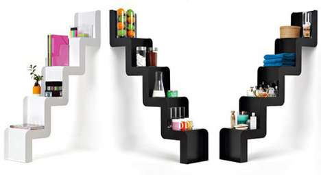 Staircase-Inspired Shelving