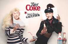 Face-Replaced Pop Ads - The Diet Coke by Jean Paul Gaultier Campaign is Mischievous and Playful