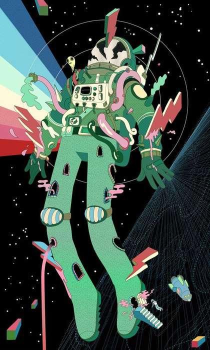 Psychedelic Astronaut Art