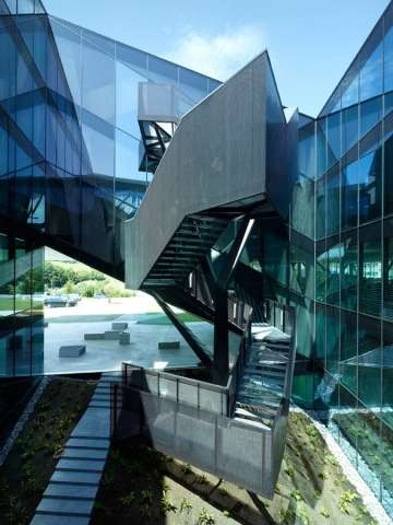 Dramatically Sloped Structures - The Plexus Offices by Ipas Architectes Feature Angular Accents