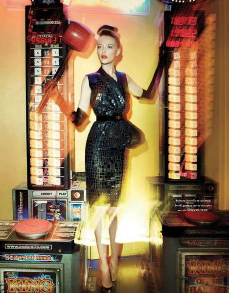 Awesome Arcade Supermodel Shots - The Vlada Roslyakova L'Officiel Paris Photo Shoot is Gamer-Ready