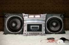 Vintage Stereo Cushions - These Boombox Pillows are Funky and Old-School