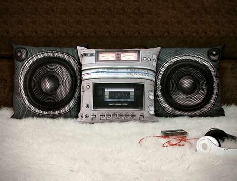These Boombox Pillows are Funky and Old-School