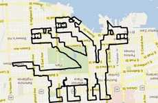 Gigantic GPS Art Illustrations - Michael Wallace Uses Bike to Create Giant Grid Images in Baltimore