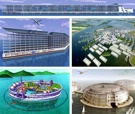 Future Floating Cities - ResidenSea's The World and Freedom Ship