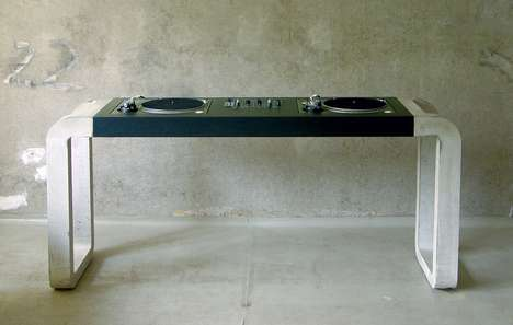 Cemented Turntable Tables - The Metrofarm 'DJ Desks' are Sleek and Scratchable Furniture