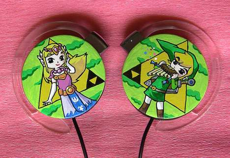 Hand-Painted Gamer Headphones - The Princess Zelda and Link Headphones are Adorable