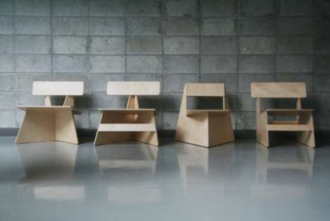 Eco-Friendly Minimalist Seats - The Seungji Mun 'Four Brothers' Chairs Come From One Slice of Wood