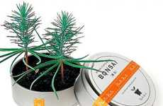 Miniature Canned Forests - The Bonsai 'Tree in a Can' Product Conceals Petite Plantlife