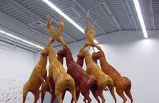 Stacked Canine Sculptures - Bruce Nauman Creates Art by Placing Dog Models on Top of One Another