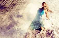 Sequinned Seaside Photoshoots - The Lily Donaldson Vogue Spain Editorial is Elegantly Embellished